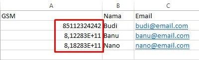 Menambahkan Awalan 0 Pada Nomor Handphone di Excel